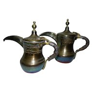 Pair Antique 19th Century Islamic Crown-Marked Brass Bedouin Dallah Coffee Pots, Arabesque Calligraphy, H 19.5 & 21.5 cm
