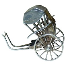 Antique 19C Chinese Export Silver 900 Marked Wang Hing Rickshaw Chariot, H 4.2cm