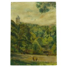 Vintage 1934 French Oil Painting, Signed F.G, Paris Woods Scene, Oil/Board, 33 x 24 cm