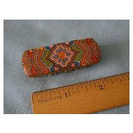 Antique Doll Hairbrush Paper Lithography French Fashion Size Paisley