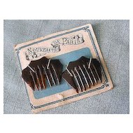 Antique Doll Hair Combs Tortoise Pair on Original French Card