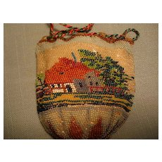 Antique Purse Child's Fine Beaded Bag Scenic Scarce Early Superb Condition