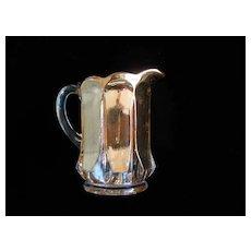 "Children's Glass ""Portland"" Lemonade/Water Pitcher Heavy Gold Wash Mint Condition"