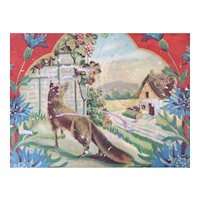 Vintage Tin Litho Toy Tray German Fox and Grapes