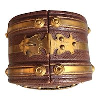 Antique Doll Accessory French Fashion Size Elegant Valise Brass Bound Leather Silk Lined