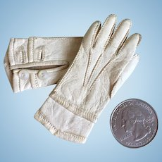Antique Doll Gloves Perfect French Fashon Size Two Button Cream Leather