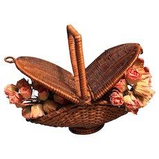 Elegant Doll's Basket to Gather Roses