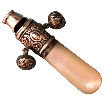Antique Sterling Baby Doll Rattle c.1901