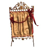 Miniature Room Fireplace Screen Red Silk Ribbon