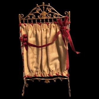 Miniature Room Fireplace Screen Red Silk Ribbon