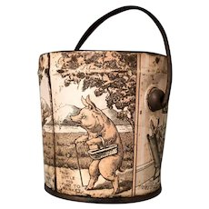 """""""Three Little Pigs"""" Toy Tin Litho Bucket Great Early Graphics"""