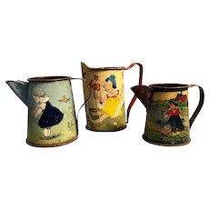 Three Toy Pitchers Tin Litho with Children Designs