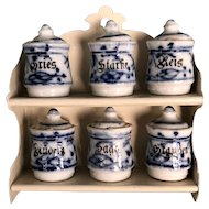 Miniature Flo Blue Canister Set of Six with Shelf