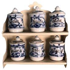 Miniature Flo Blue Canister Set of Six with Shelf
