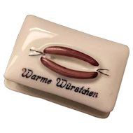Antique German Kitchen Store China Miniature Sausage Box
