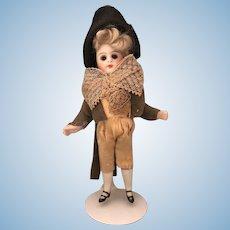 German All Bisque Antique Doll Original Costume