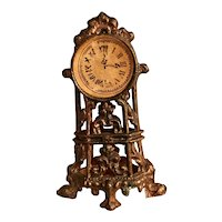 Antique French Doll House Clock - Ornate Metal
