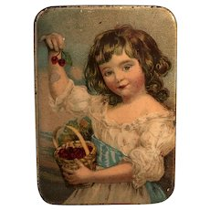 Tin Litho Portrait Young Girl with Cherries Miniature Box