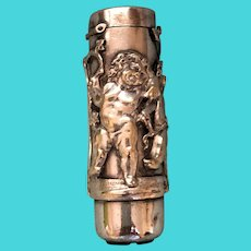 Silver Match Safe Playful Cherubs Ornate Detailed c. 1895