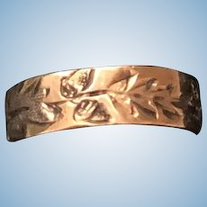Gold Wide Baby Ring Embossed Leaves