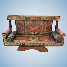 Bliss Settee Bolsters Vivid Colors c.1880