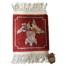 Chinese Wool Rug Vintage Original Tag