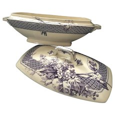 Staffordshire Mulberry Tureen Botanical Lilacs