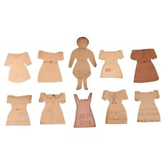 Child Made Paper Doll Set c.1840 Naive Made by Hand