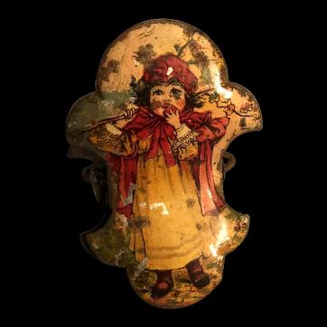 Christmas Candle Clip German Tin Litho