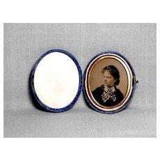 Oval Blue Velvet Case w/Photo c.1880