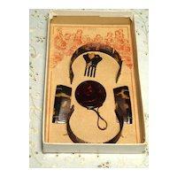 Antique Doll Combs German Set Stitched in Wonderful Box MIB