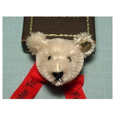 Silver Steiff Bear Pin with Ribbon Banner dated 1987