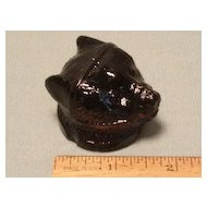 Antique Sandwich Glass Pomade Bear Head - Excellent!