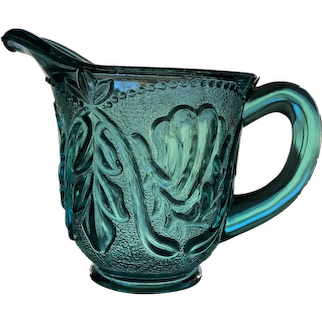 Toy Glass Creamer 'Stippled Vine and Beads' in Teal