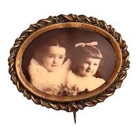 Victorian Sisters Real Photo Pin Brooch