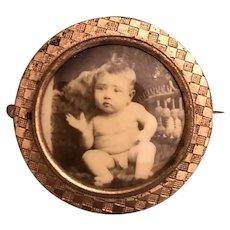Baby BOY Real Photo Pin Brooch