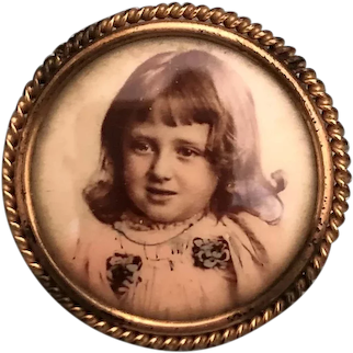 Tinted Real Photo Pin Brooch Pretty Little Girl