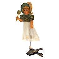 Girl Die Cut Scrap Spun Glass Clip on Christmas Ornament antique german