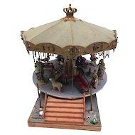 Vintage Merry go Round Carousel Dollhouse Toy German 1930's