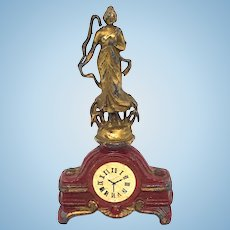 Antique German Miniature Doll House figural metal clock