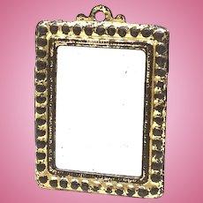 Beautiful Golden Tin Frame Mirror Dollhouse Antique german 1900's