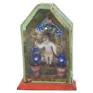 Jesus child Wax Art German Monastery Work Antique 1900s