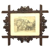Folk Art Black Forest wood carved Picture Frame Antique German 1900's
