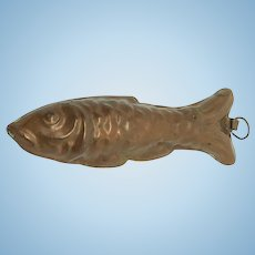 Wonderful Doll Miniature Copper Mold Fish Backing Mold German 1890s