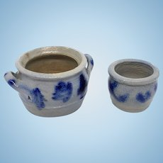 Set of two German Westerwald Pottery Salt Glazed Crock Dollhouse 1910s