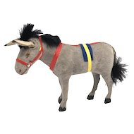 Santa Claus Donkey Mule Papermache Toy Figure Christmas German 1930's