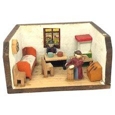 Erzgebirge smallest Dollhouse Wooden Putz Toy vintage german