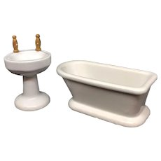 Dollhouse Bathroom Set Sink and Bathtub Porcelain Antique German