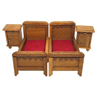 Antique Dollhouse Bed and Nightstand Set German 1910