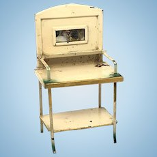 Antique miniature tin Doll House Wash stand white green accents